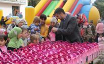 Every child received a set of sweets and cotton candies
