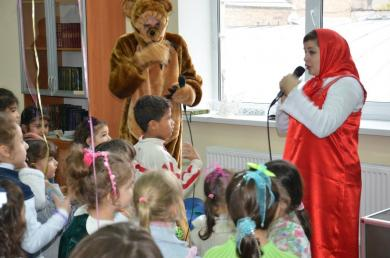 children were happy to find entertainers dressed as famous Russian cartoon characters Masha and the Bear